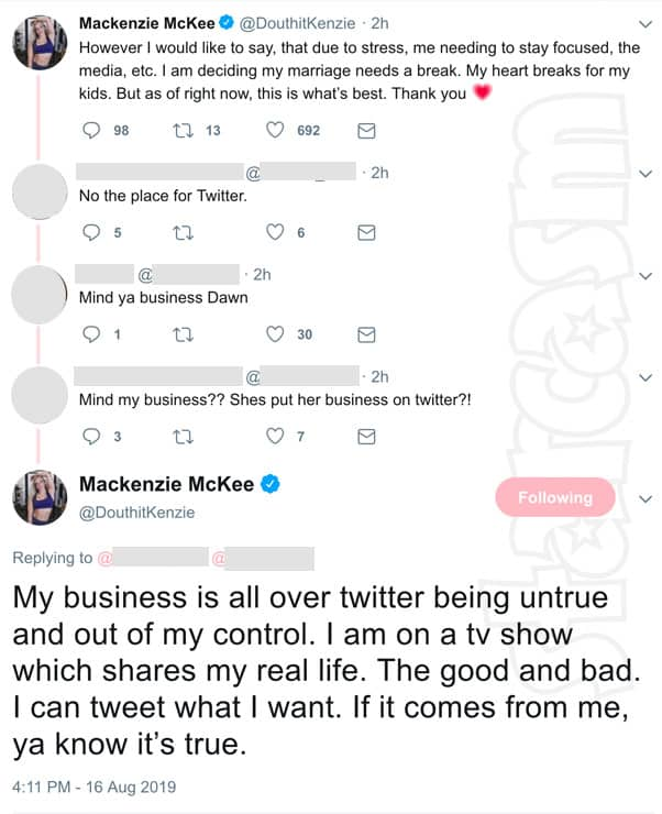 Teen Mom OG Mackenzie McKee divorce tweets