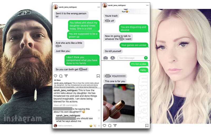 Alleged text messages between Tamra Judge's son Ryan Vieth and his ex Sarah Rodriguez that were posted on Instagram by Sarah then deleted
