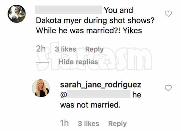 Ryan Vieth's ex Sarah Rodriguez slept with Dakota Meyer comment on Instagram
