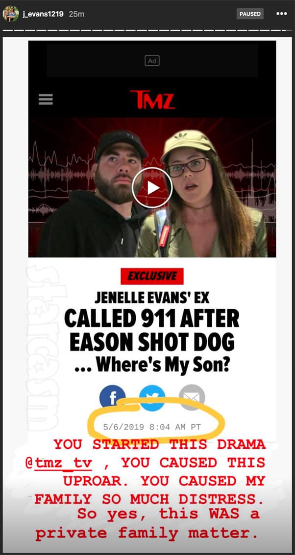 Jenelle Eason Instagram story TMZ article about Nathan's  911 call