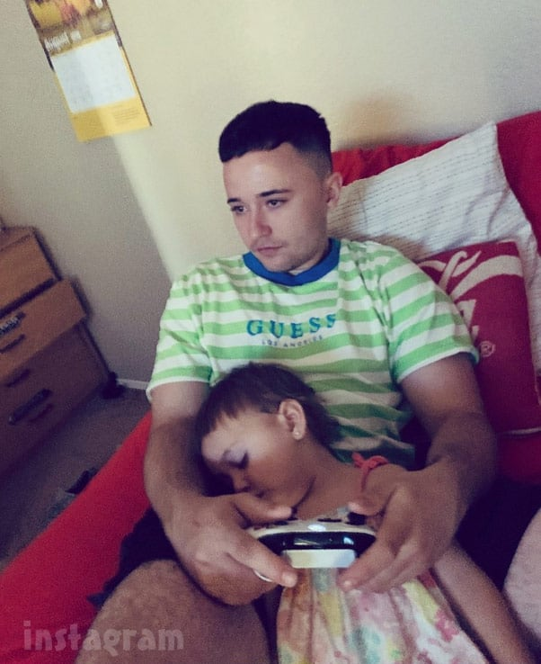 Max Schenzel and daughter Ava playing video games