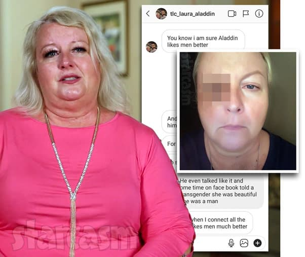 90 Day Fiance The Other Way Laura Jallali black eye and DMs stating Aladin is gay
