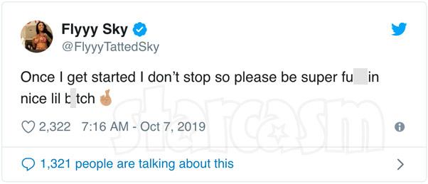 Black Ink Crew Sky tweet