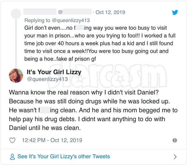 Love After Lockup Lizzy says she didn't visit Daniel in prison because he was still using drugs