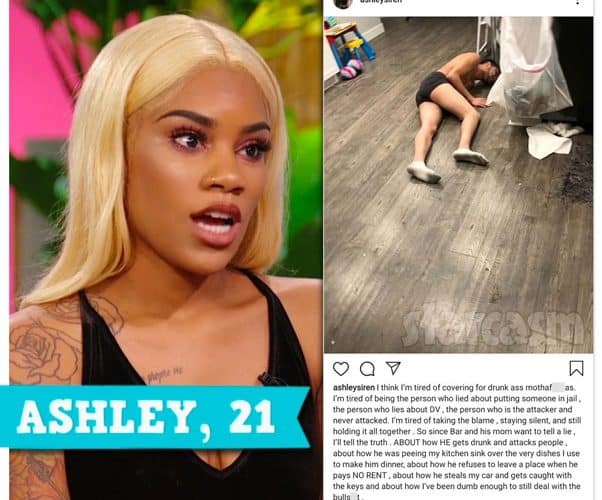 Teen Mom Young and Pregnant Ashley Jones posts photo of Bar Smith allegedly drunk and passed out on Instagram