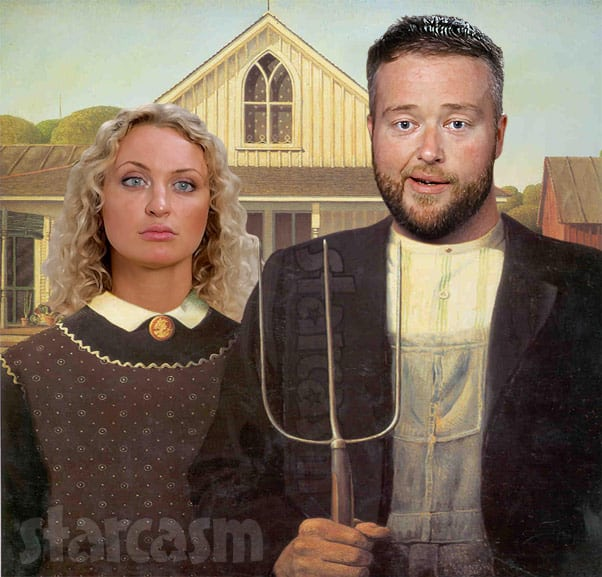 American Gothic painting meme Natalie and Mike from 90 Day Fiance
