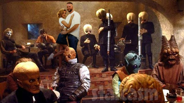 90 Day Fiance Mike and Natalie wedding photo with aliens from Star Wars Mos Eisley Cantina