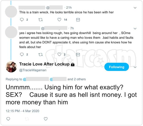 Love After Lockup Tracie Wagaman Clint Brady sex and money tweet