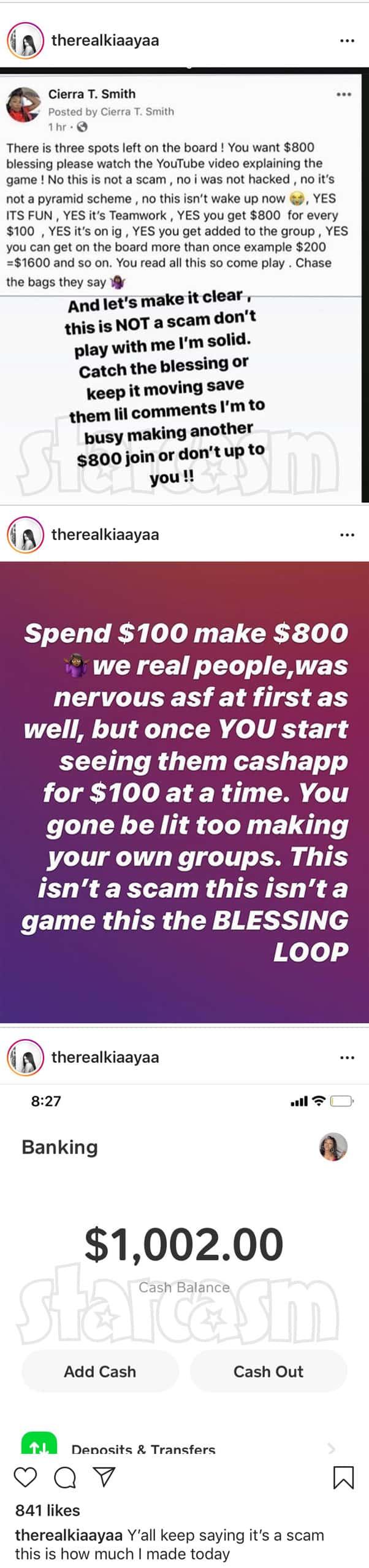 Teen Mom Kiaya Instagram scam Blessing Loop pyramid scheme