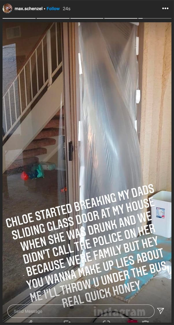 Unexpected Max Schenzel says Chloe Mendoza got drunk and smashed a glass door with one of their daughter Ava's toys