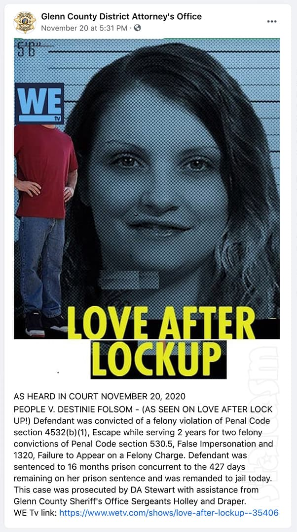 Love After Lockup Destinie Folsom back in prison