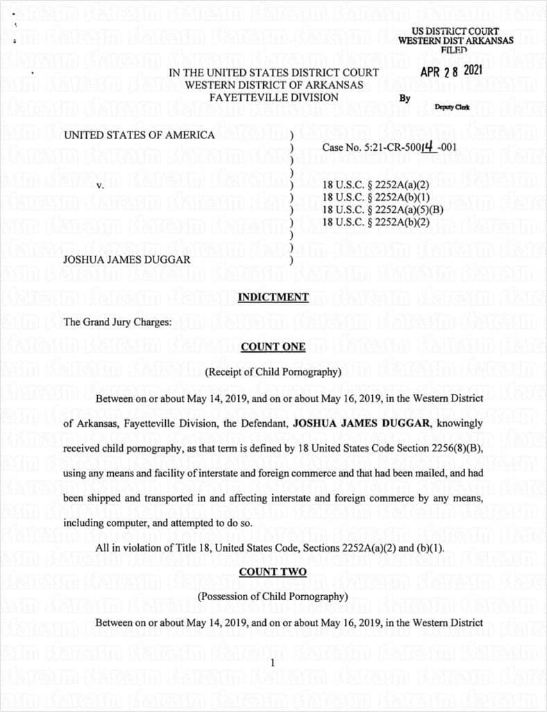 Josh Duggar indictment page one