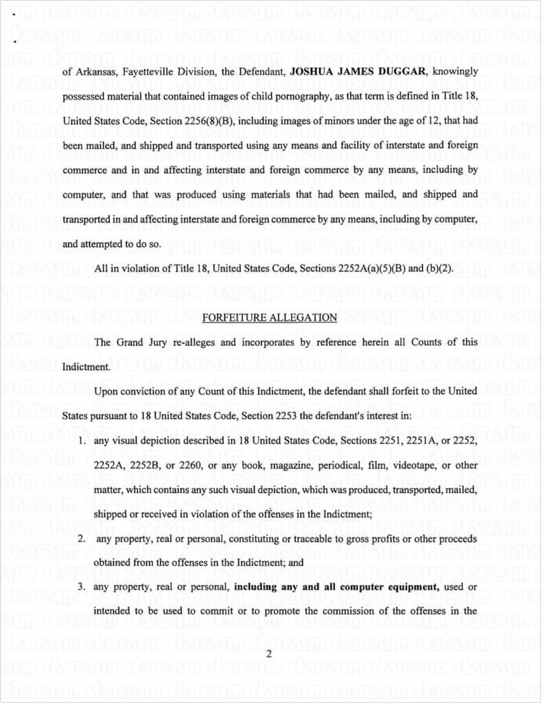 Josh Duggar federal indictment page 2