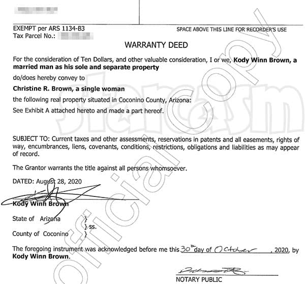 Sister Wives Christine Brown removes Kody Brown from house deed