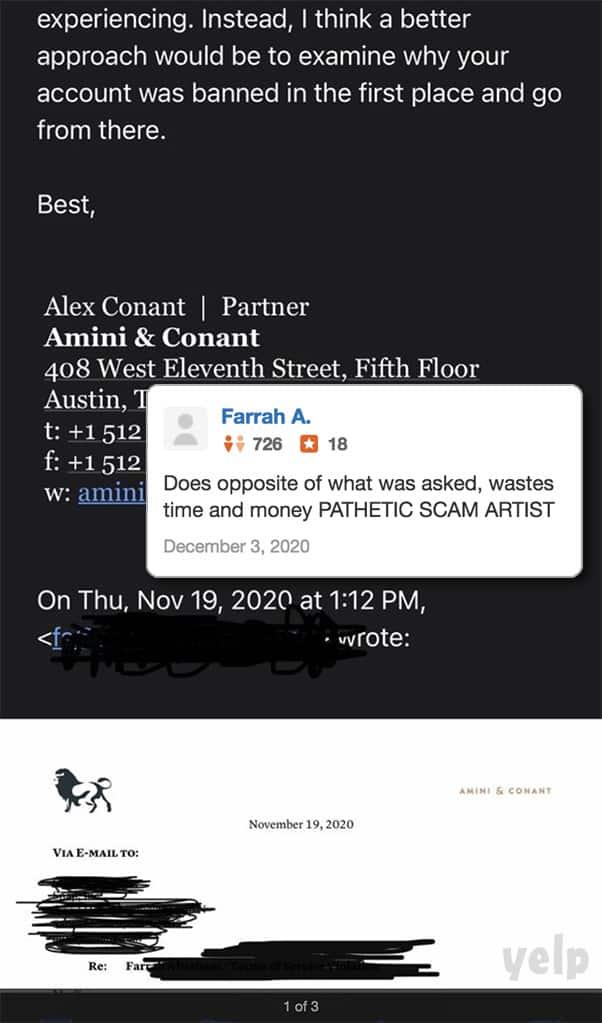Farrah Abraham Alex Conant Yelp review