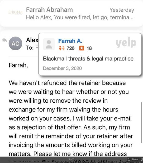 Farrah Abraham Yelp review of Austin attorney Alex Conant