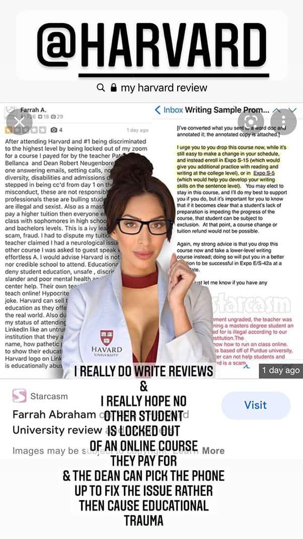 Farrah Abraham Havard University Instagram story promoting educational trauma awareness