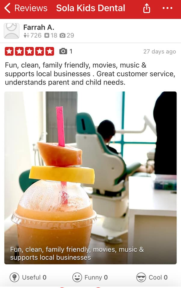 Farrah Abraham Yelp review Sola Kids Dental